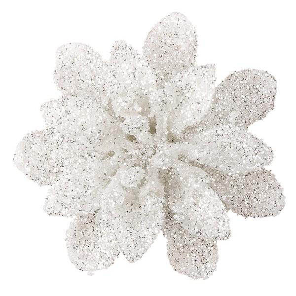 Deko-Blüten, Frosty 7, 30g, weiß mit Glitzer