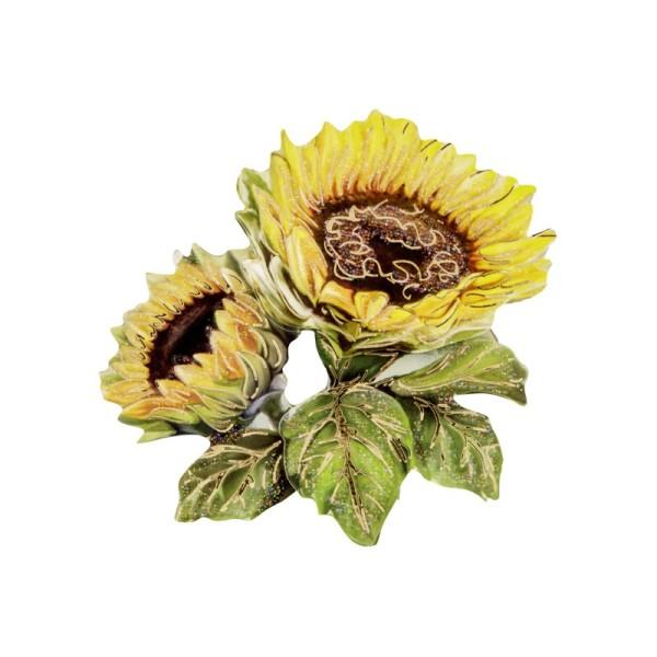3-D Motiv, Sonnenblumen, Gold-Gravur & Glimmerlack, 8 cm