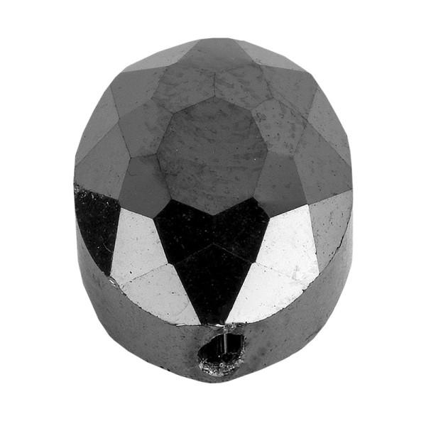Perlen, oval, flach, 0,9cm x 1,2cm, facettiert, transparent, anthrazit, 25 Stück