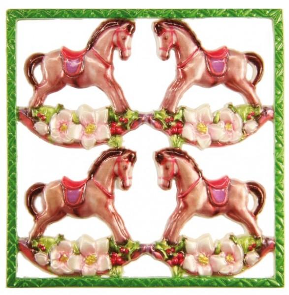 Wachsornament-Platte Schaukelpferde, 10 x 10 cm