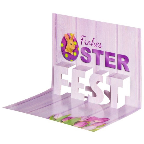 "Pop-Up-Grußkarten-Einleger, 11 x 16 cm, ""Frohes Oster-Fest"", violett/Tulpen"