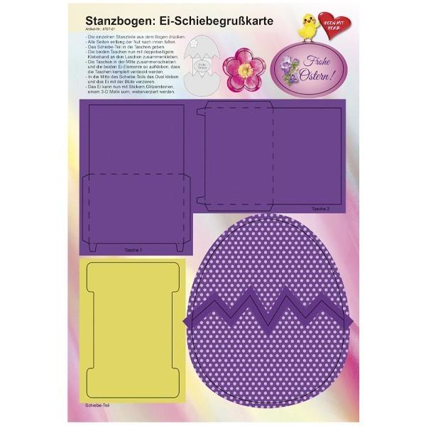Stanzbogen, Ei-Schiebegrußkarte, DIN A4, Design 1
