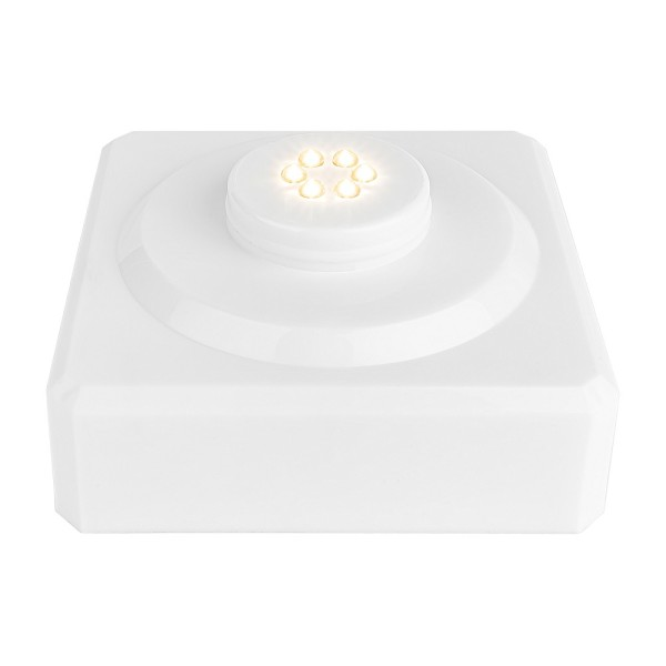 LED-Podest, quadratisch, 9cm x 9cm x 4,2cm, weiß, 6 LEDs, warmweiß, Timer-Funktion