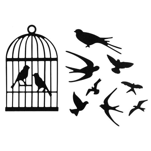 Stanzschablone, Vogelkäfig & Vögel, 7,6cm x 4,8cm