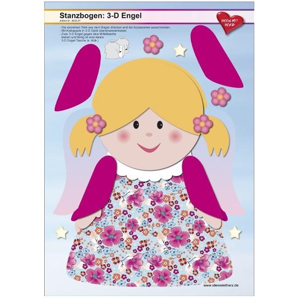 Stanzbogen, 3-D Engel, DIN A4, Design 7, 2er Set
