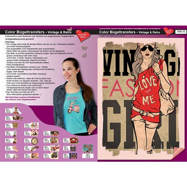 Color Bügeltransfers, DIN A4, Vintage/Retro, Fashion Girl