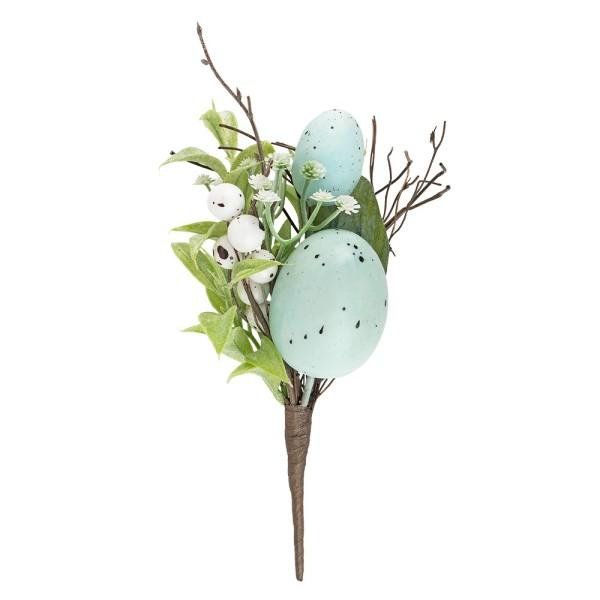 Deko-Strauß Osterzeit, 22cm lang, mit hellblauen Eiern, weißen Beeren und Blüten