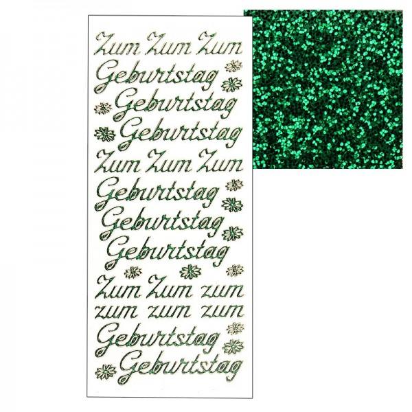 """Microglitter-Sticker, """"Zum Geburtstag"""", grün"""