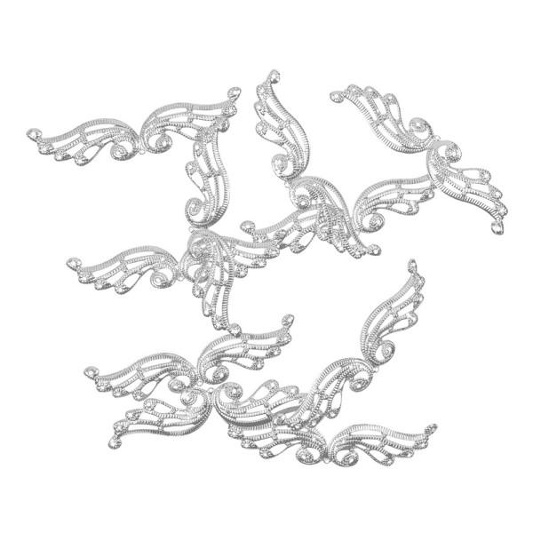 Metall-Ornamente, Design 32, 9,8cm x 2,4cm, silber, 10 Stück