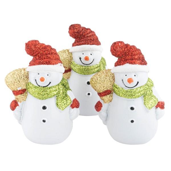 Deko-Schneemänner, 5cm x 3,6cm x 7,5cm, 4-farbig mit Glitzereffekt, 3 Stück