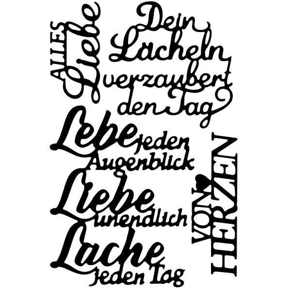 Stanzschablonen, Schriften, Lebe, Liebe, Lache, 4 Stück