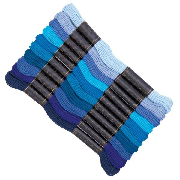 Stickgarn-Set, 10 Döckchen, Blautöne