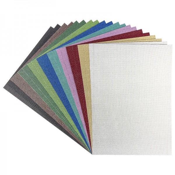Effekt-Karton Glitzer-Leinen, DIN A4, 10 verschiedene Farben, 20 Stück