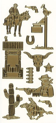 Sticker, Motiv Cowboy, gold