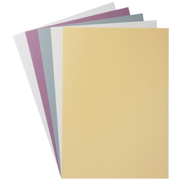 """Design-Karton, """"Kashmir Leinen"""", Din A4, 5 Farben, 10 Bogen"""