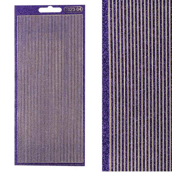 Microglitter-Sticker, Linien, 2mm, violett