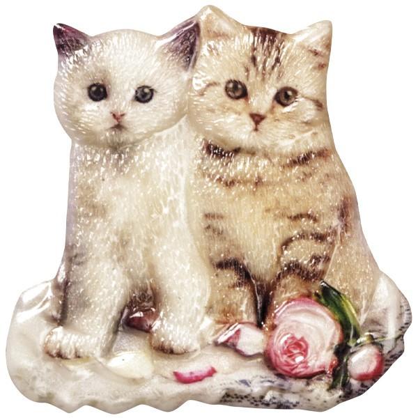 Wachsornament Katzen 1, farbig, geprägt, 7-8cm