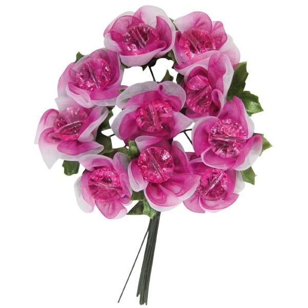 Deko-Blumen mit Schmuckstein-Blüten, pink/weiß, 10er Set