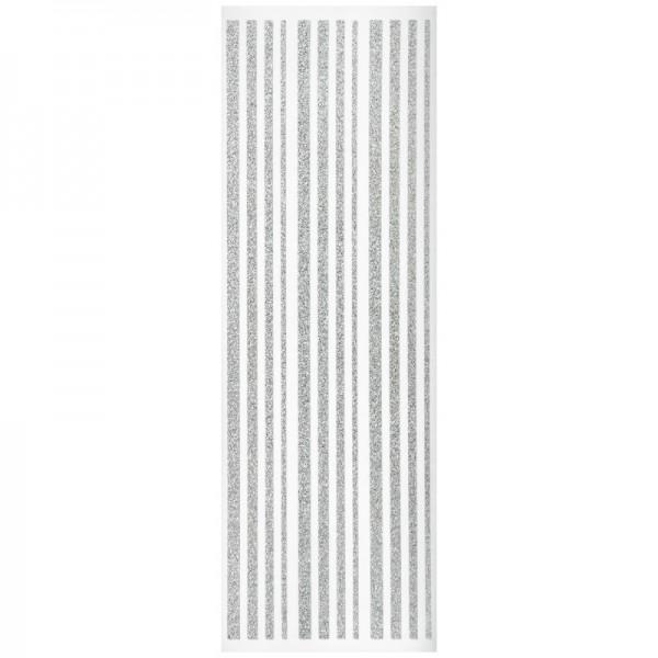 Glitzer-Bordüren, Sticker-Linien, 30 cm lang, 3-6 mm, silber