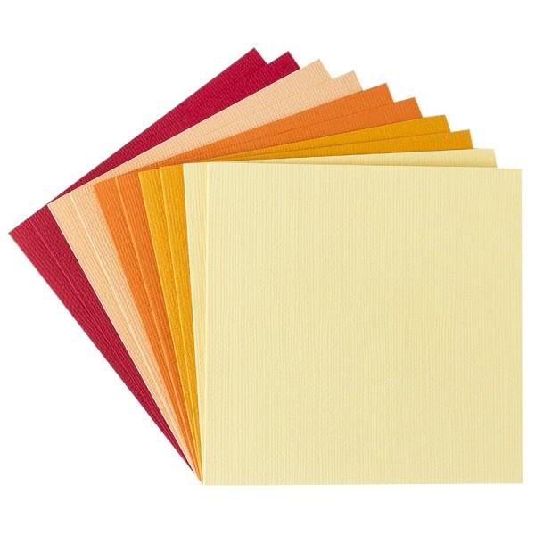 """Grußkarten """"Anna"""" in Leinen-Optik, 11x11cm, 5 Farben, Rot-/Gelbtöne, inkl. Umschläge, 10 Stück"""