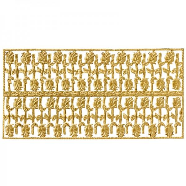 Wachsornament-Platte Rosen, geprägt, 20x10cm, gold