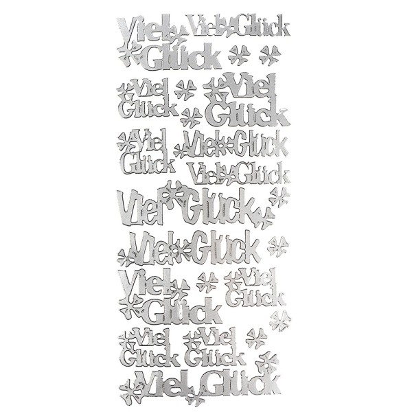 Sticker, Viel Glück/Kleeblatt, silber