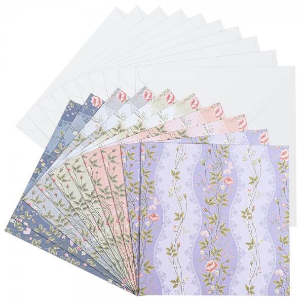 Motiv-Grußkarten, Blumenranken, 16cm x 16cm, 230 g/m², 5 versch. Farben, inkl. Umschläge, 10 Stück