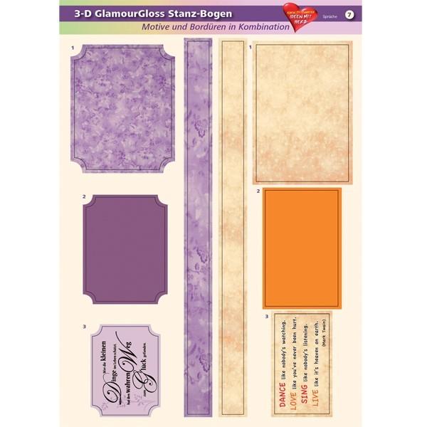 3-D GlamourGloss Bogen, Sprüche, DIN A4, Motiv 7