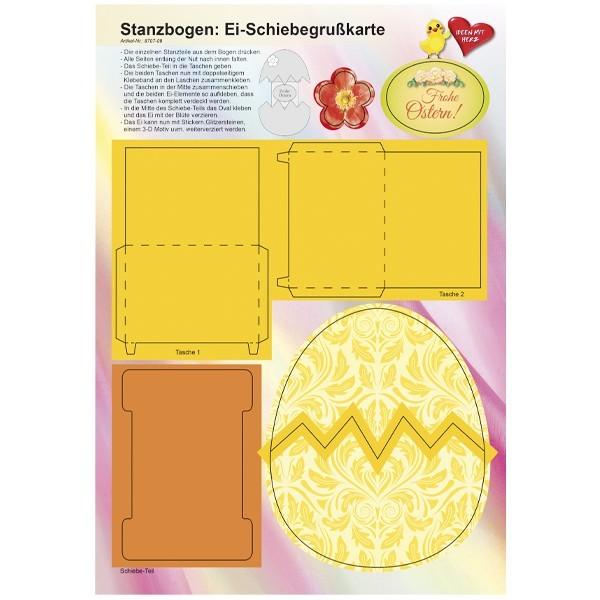 Stanzbogen, Ei-Schiebegrußkarte, DIN A4, Design 9