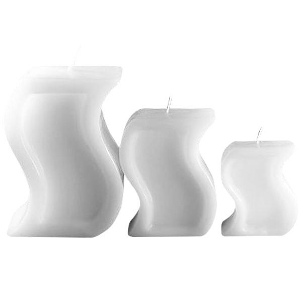 """Kerzen in """"S-Form"""", ausgehöhlt, weiß, 6 Stück, OUTLET-SET"""
