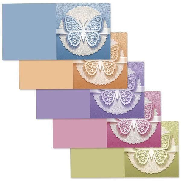10er Grußkartenset Deluxe, Schmetterling, 16x16cm, inkl. Einleger