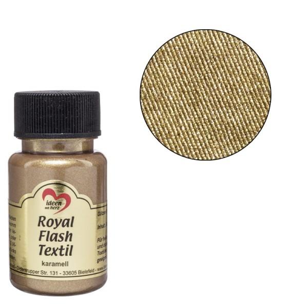 Royal Flash Textil, Glitzer-Metallic-Farbe, 50 ml, karamell