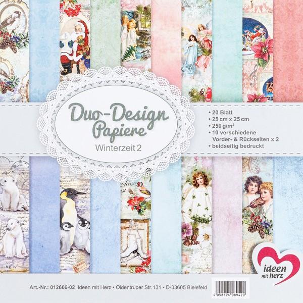 Duo-Design-Papiere, Winterzeit 2, beidseitig bedruckt, 25cm x 25cm, 250g/m², 20 Blatt