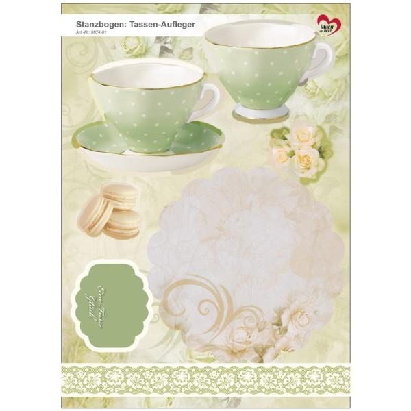 Stanzbogen, Tassen-Aufleger, DIN A4, hellgrün