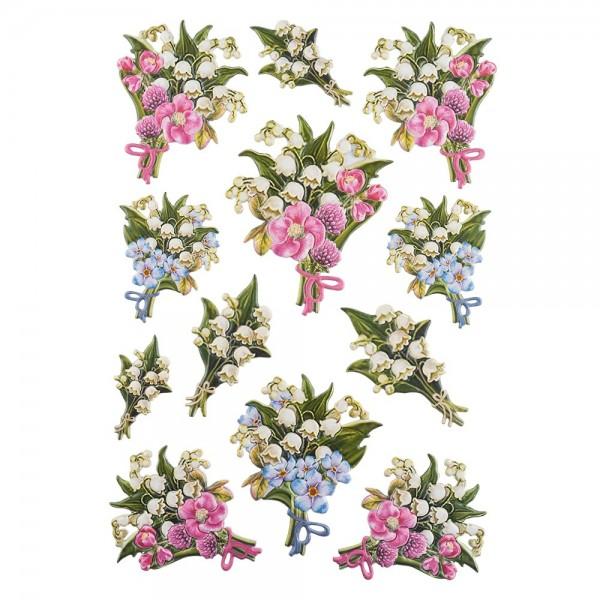 3-D Relief-Sticker, Maiglöckchen-Vielfalt 3, verschiedene Größen, selbstklebend