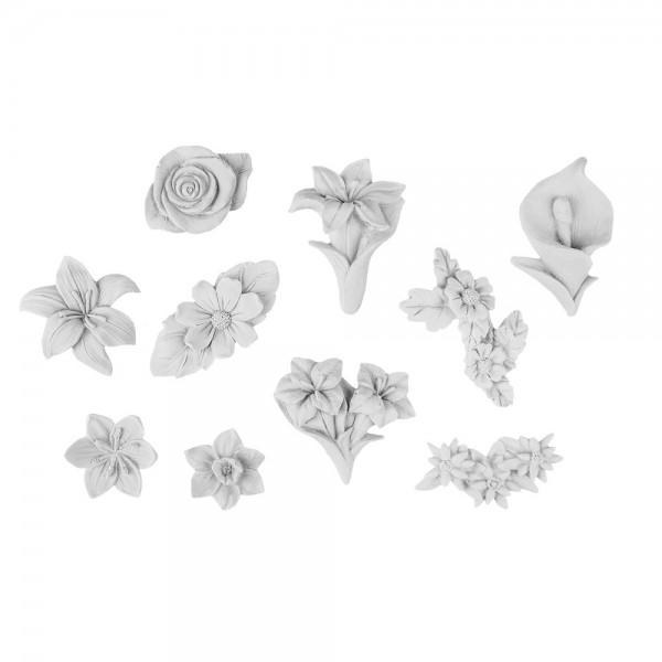 Relief-Blüten, 10er Set, weiß