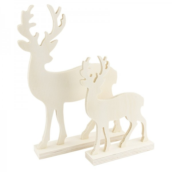 Deko-Hirsche, Holz, verschiedene Größen, 2 Stück