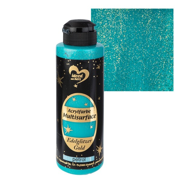 "Acrylfarbe ""Multisurface"", Edelglitzer Gold, petrol, 180ml"