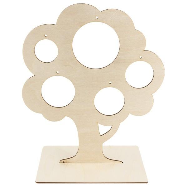 Deko-Baum aus Holz zum Aufstellen, 29,8cm x 25 cm, mit 5 kreisförmigen Aussparungen