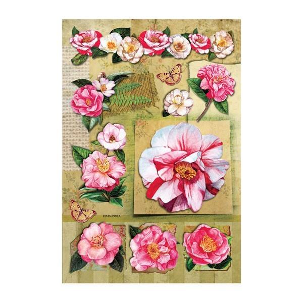 3-D Stickerbogen, Buschrosen, rosé, 12,5 x 18,5 cm