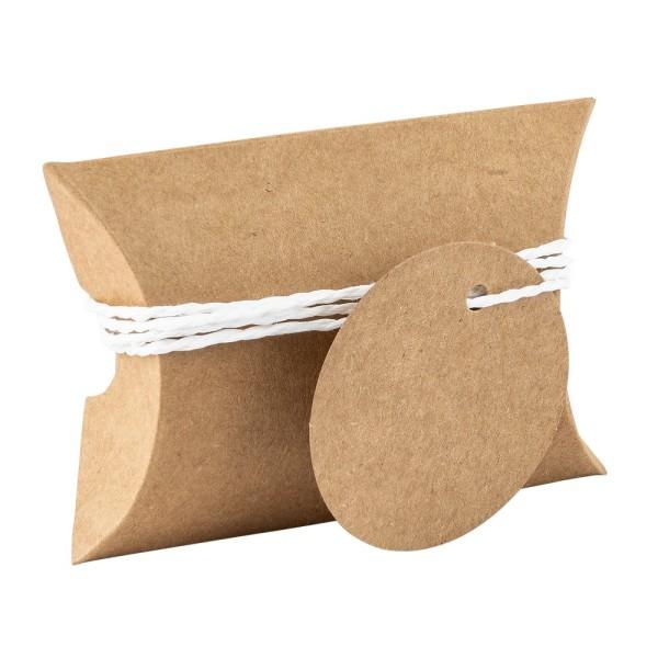 Kraftpapier-Kissentaschen, 6,5cm x 9cm, inkl. Anhänger & weiße Papierkordel, 50 Stück