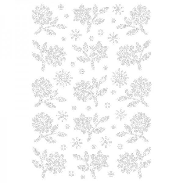 Bügelstrass-Design, DIN A4, klar, Blütenzweige 1