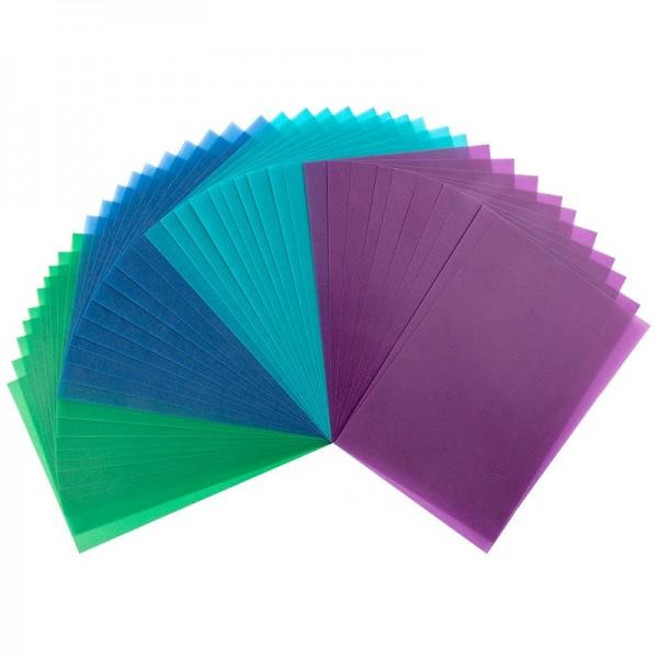 Transparentpapiere, 10cm x 15cm, 40 Stück, 130g/m², Grün-/Blautöne