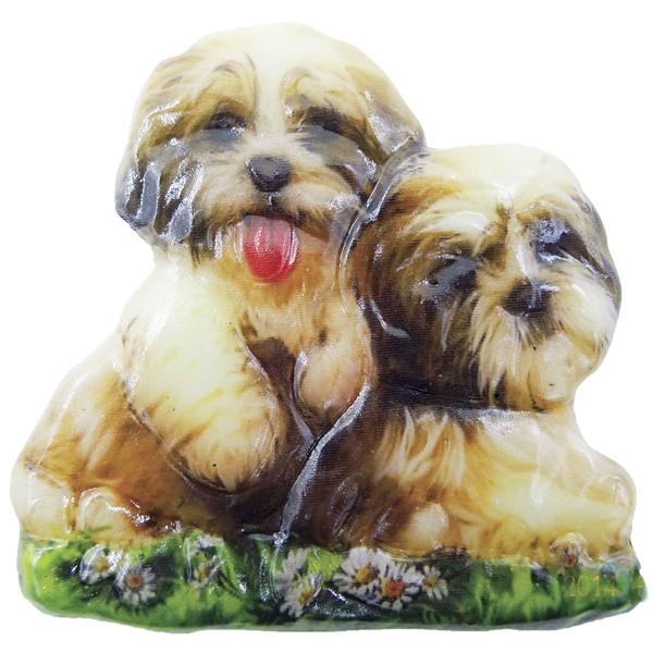 Wachsornament Hunde 8, farbig, geprägt, 7cm