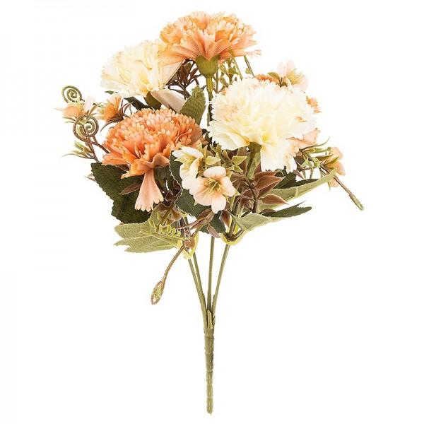 Blütenbusch, Nelken 2, 28cm hoch, 5 große Blüten Ø 4,5cm, Apricottöne