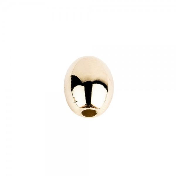 Perlen, Oval 2, 0,9cm x 0,7cm, hellgold, 210 Stück