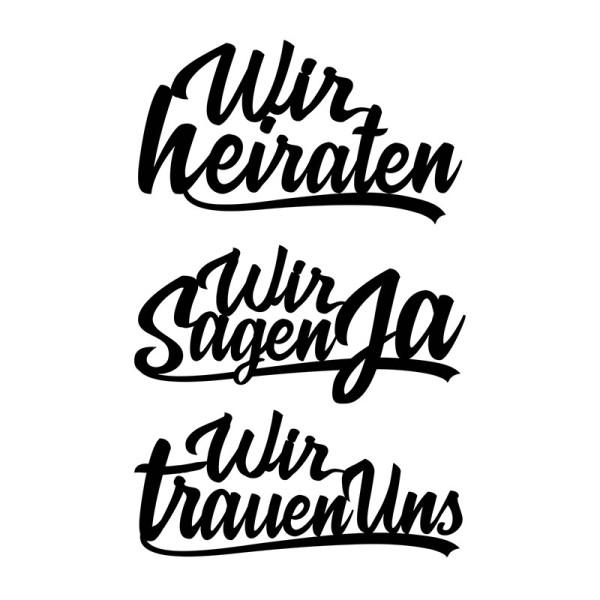 Stanzschablonen, Schriften, Zur Hochzeit 1, 3,2cm bis 8,2cm, 3 Stück