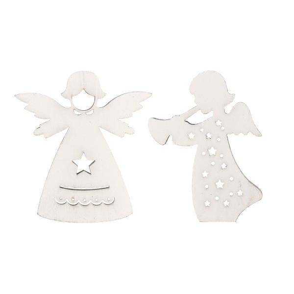 Engel aus Holz, weiß, 2 Designs, 6,2cm x 7cm x 0,5cm & 5,7cm x 7,5cm x 0,5cm, 12 Stück