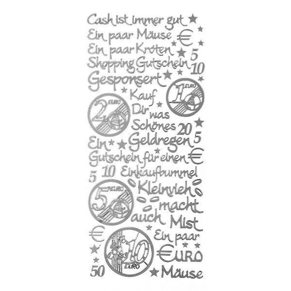 """Sticker, Schriften, """"Geld/Gutschein"""", uvm., Spiegelfolie, silber"""