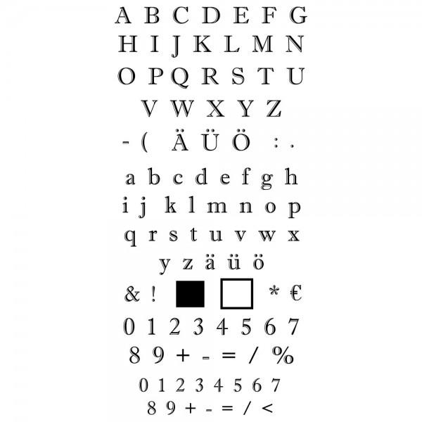Feinkontur-Stempel, einzelne Motive auf Trägerfolie, Alphabet